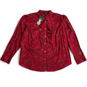 Ralph Lauren Top Shirt Blouse Paisley Cotton New